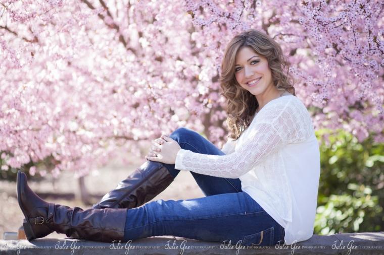 cherry blossoms high school senior portraits portland oregon